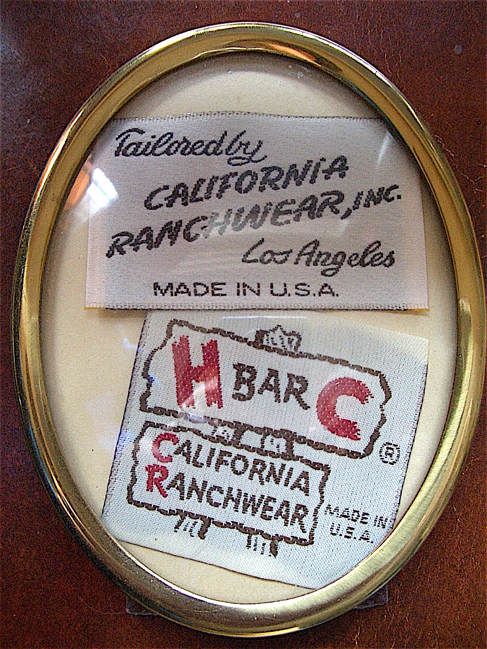 H-Bar-C labels - Tailored by California Ranchwear, Inc. Los Angeles, Made in U.S.A.