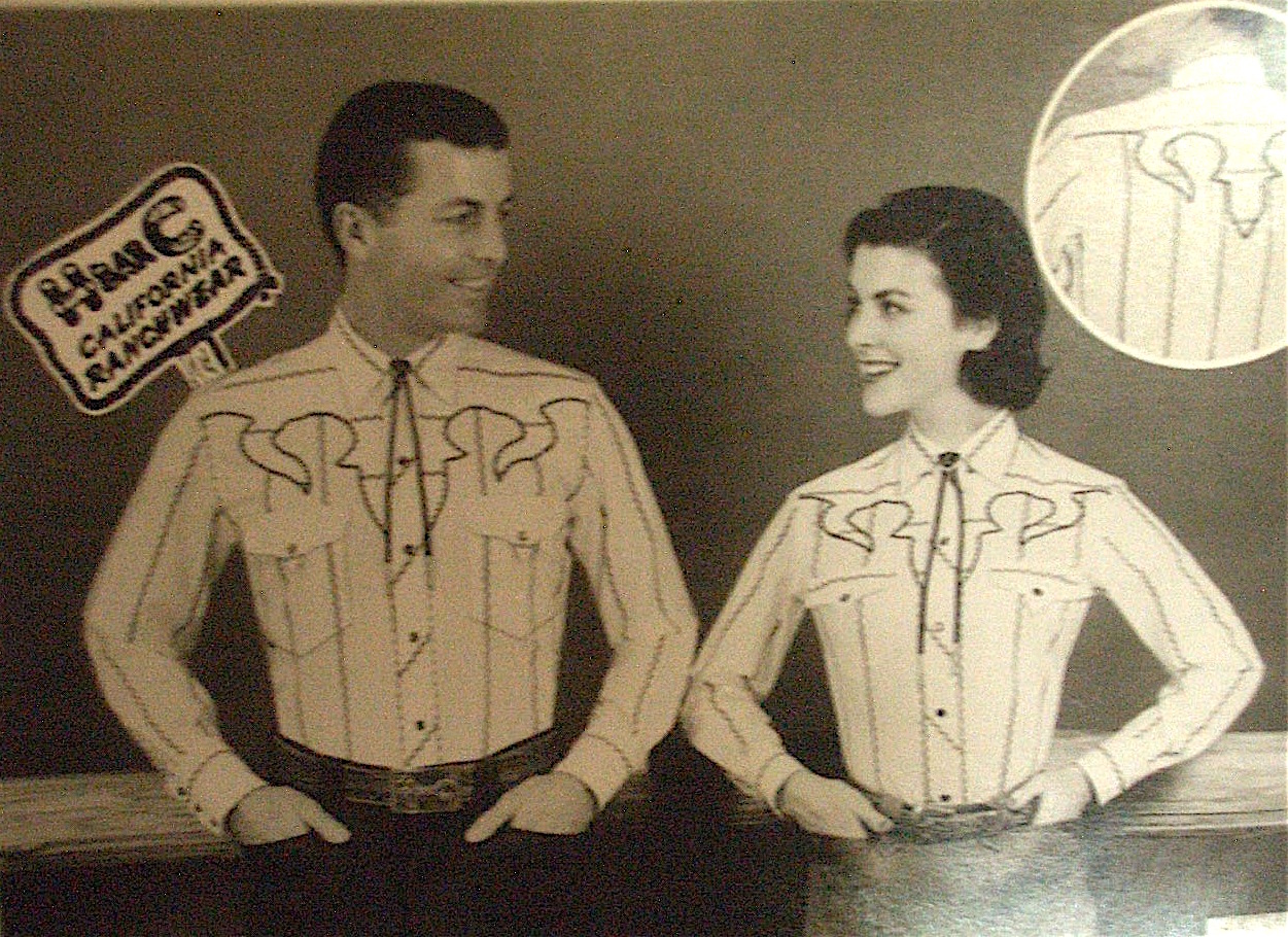 Young Partners modeling in white embroidered H-Bar-C shirts with bolo ties